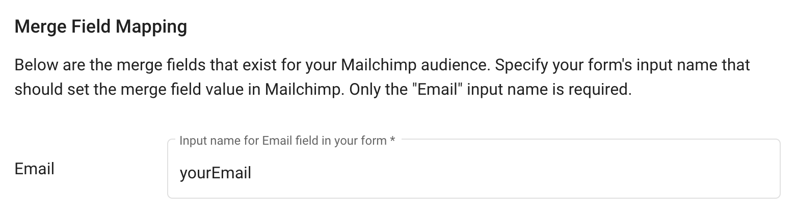 Configure Email Input Name