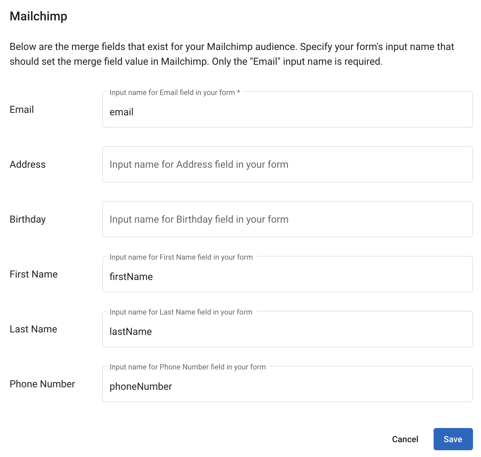 Mailchimp Field Mapping